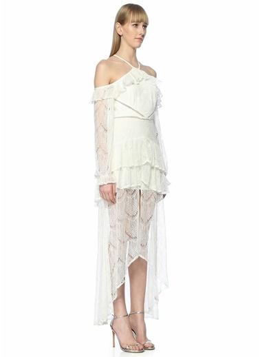 True Decadence Omzu Açık Dantelli Uzun Elbise Beyaz